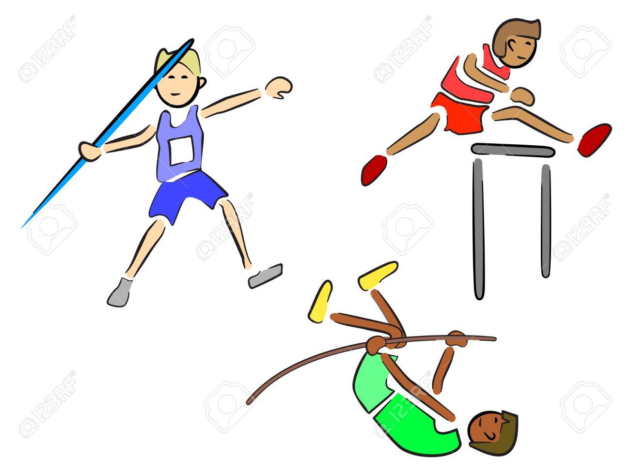 13846530-los-atletas-atletismo-jabalina-vallas-y-salto-con-pértiga